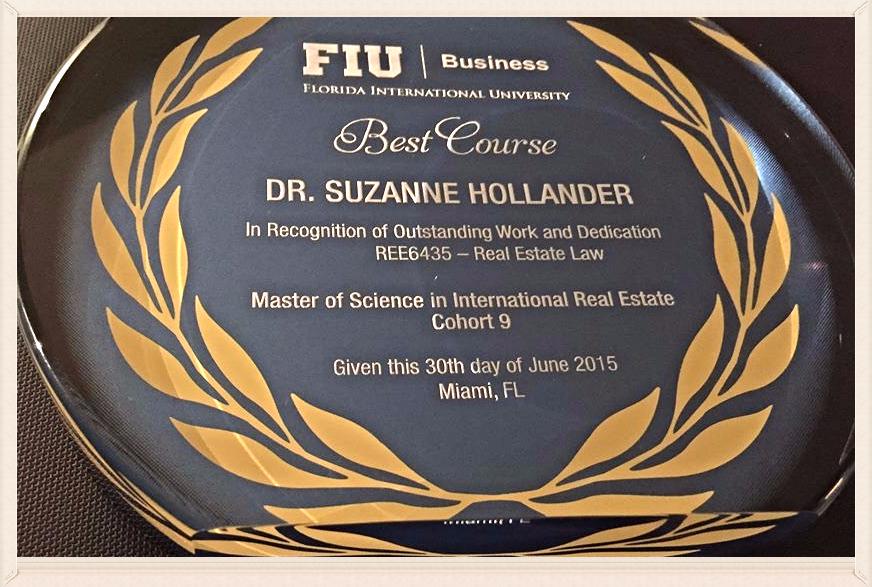 Professor Real Estate Suzanne Hollander Wins Best Real Estate Course Award