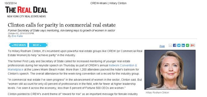 In News! Suzanne Hollander interviewe Clinton's Call for Parity in Real Estate - Advancement of Women in Commericial Real Estate