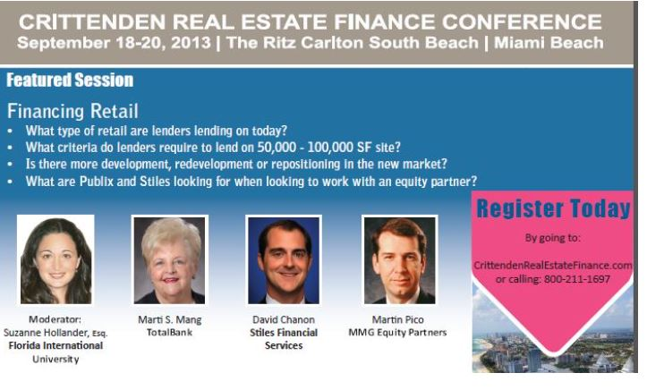 Suzanne Hollander Moderates Retail Real Estate Panel on Financing Professor Real Estate