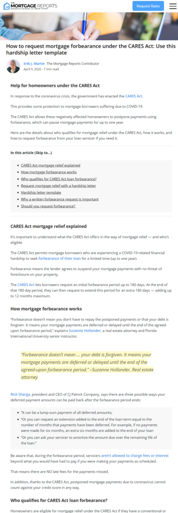In News! Need Help Now? Suzanne Hollander on Mortgage Forbearance in CARES Act