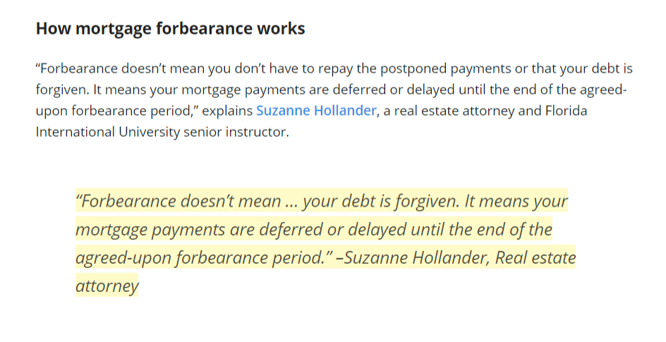 Need a Little Help Now? Suzanne Hollander on Mortgage Forbearance
