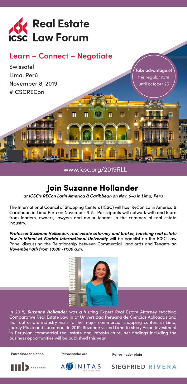 Suzanne Hollander Attorney Panelist at Annual Latin American Real Estate Conference on Legal Relationship between Commercial Landlords and Tenants