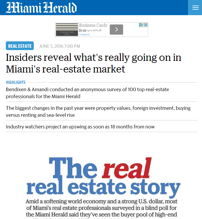 In News! Miami Herald Interviews Suzanne Hollander Insiders Reveal What's Really Going on in Miami's Real Estate Market