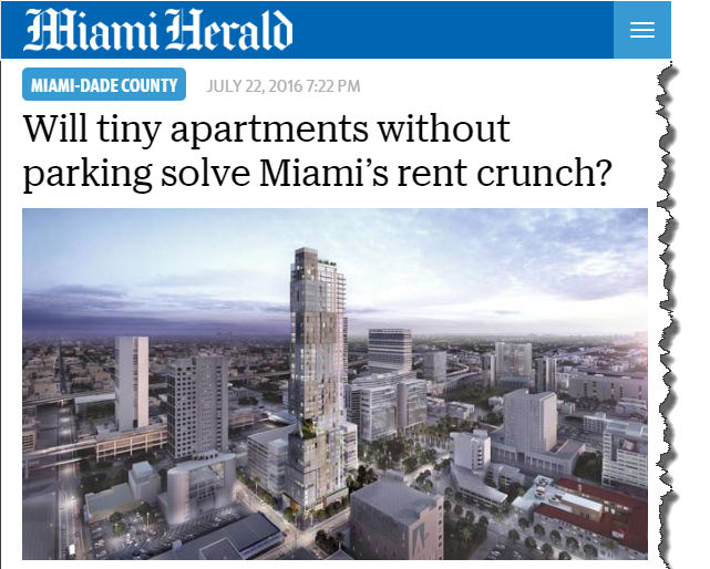 Miami Herald Interviews Suzanne Hollander – Will Micro Units Tiny Apartments without Parking solve Miami's Rent Crunch
