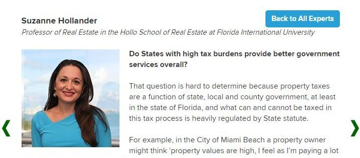 In News National Wallethub Interviews Professor Real Estate Suzanne Hollander, Real Estate Expert- U.S. Property Rights, Property Taxes, Return on Investment
