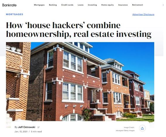 In News! Professor Real Estate Suzanne Hollander comments on How House Hackers combine Homeownership Real Estate Investing published in Bankrate