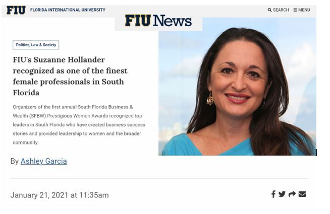 FIU's Suzanne Hollander recognized as one of the finest female professionals in South Florida
