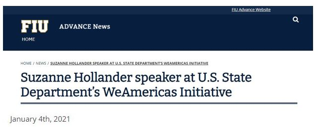 In New FIU Office to Advance Women Equity and Diversity Suzanne Hollander Speaker at U.S. State Departments WeAmericas Latin American Entrepreneur Initiative for Women