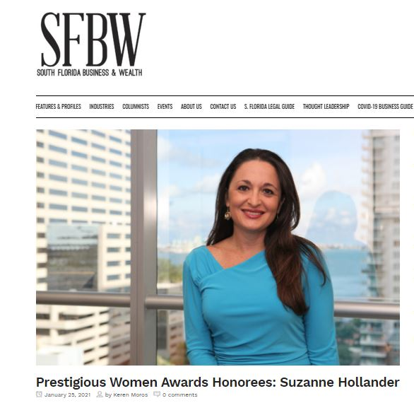 South Florida Business and Wealth Prestigious Women Award Honoree: Suzanne Hollander Professor Real Estate