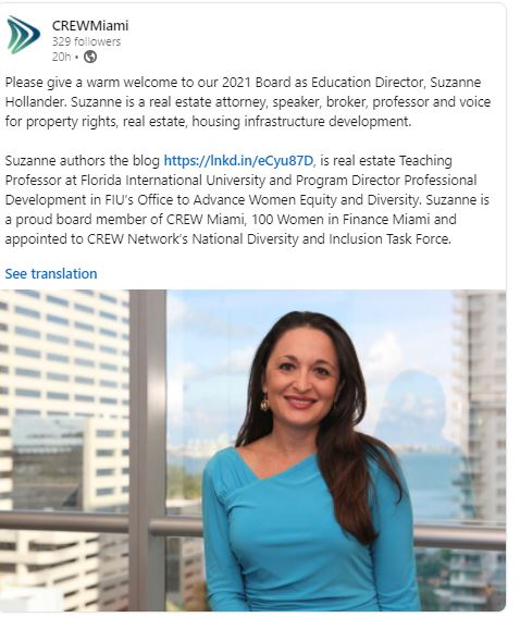 Suzanne Hollander appointed to Commercial Real Estate Women Network Miami Board as Education Director