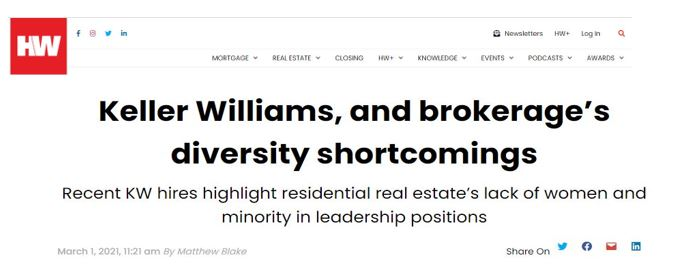 Diversity Shortcomings at Keller WIlliams and in Real Estate Brokerage Suzanne Hollander Professor Real Estate Comments